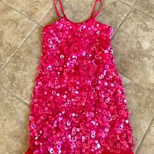 Sweet Pink Sequin-beads Paillets Party Dress